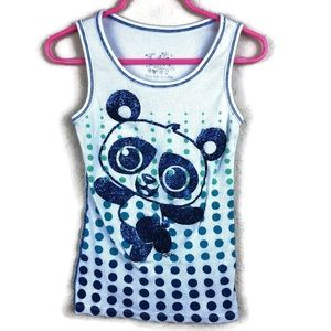 Justice Girls Tank Top, White Panda Polka Dots 7